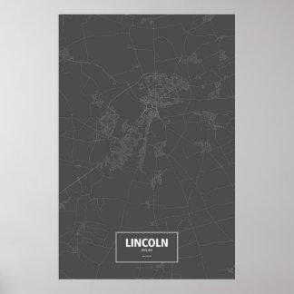 Lincoln England (vit på svart) Poster