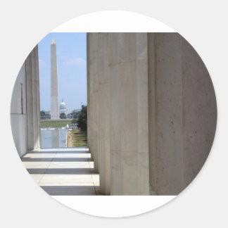 lincoln minnes- washington monument runt klistermärke