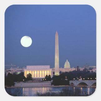 Lincoln minnesmärke, Washington monument, US Fyrkantigt Klistermärke