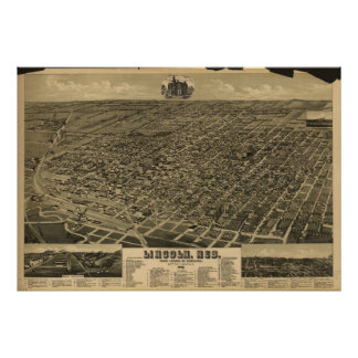 Lincoln Nebraska 1889 antika panorama- karta Poster
