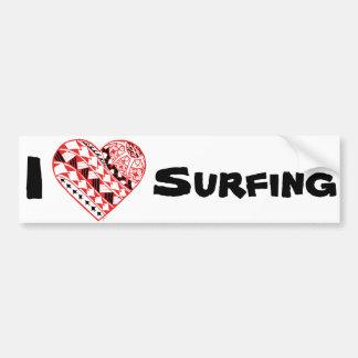 LineA mig surfa för hjärta (polynesianen) Bildekal