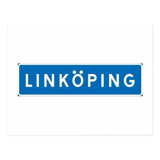 Linkoping svenskt vägmärke vykort