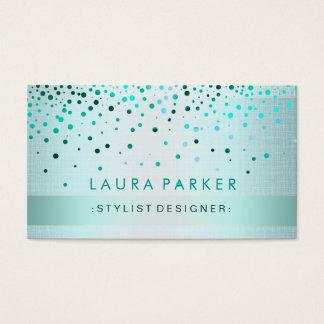 Linnet för konfettiar för glödglitterblått pricker visitkort