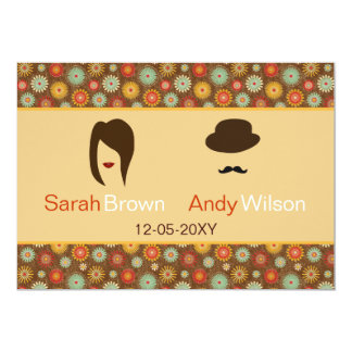 lips and mustache retro floral  wedding thank you invites