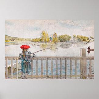 Lisbet fiske av Carl Larsson, vintagekonst Poster