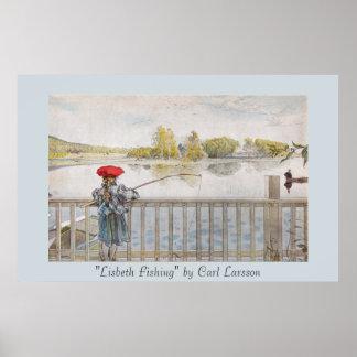 Lisbeth som fiskar Carl Larsson vintage Poster