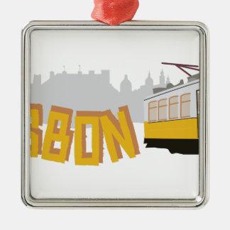 Lisbon spårvagn julgransprydnad metall