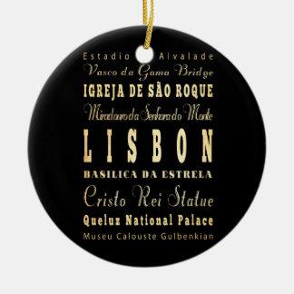 Lisbon stad av Portugal typografikonst Julgransprydnad Keramik