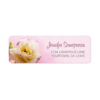 Lisianthus på blomma för rosor | returadress etikett
