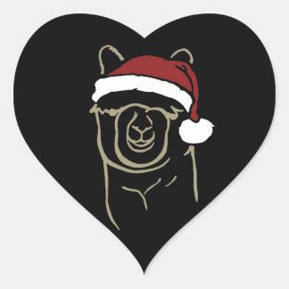 Lisma Alpaca med den Santa hatten Hjärtformat Klistermärke