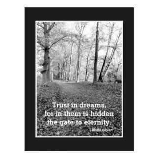 Lita på i drömmar, inspirera vykort