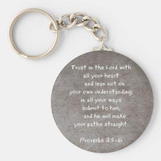 Lita på i lorden med alla dina hjärta… Proverbs 3 Rund Nyckelring