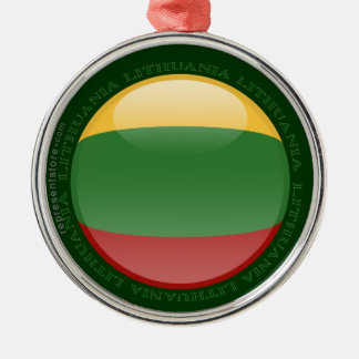 Litauen bubblar flagga rund silverfärgad julgransprydnad