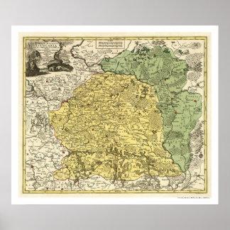 Litauen karta 1750 poster