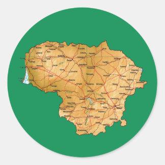 Litauen kartaklistermärke runt klistermärke