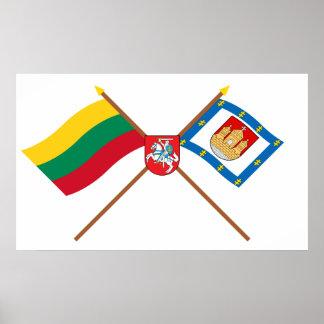 Litauen och Klaipeda länflaggor med ärmar Poster