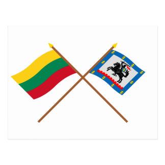 Litauen och Panevezys län korsad flaggor Vykort