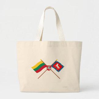 Litauen och Utena län korsad flaggor med ärmar Tote Bag