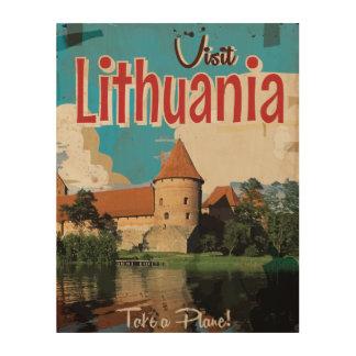 Litauen vintage resoraffisch trätavla
