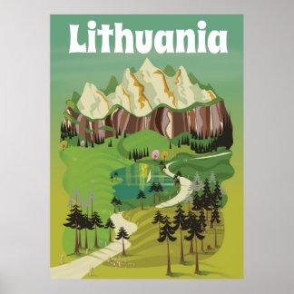 Litauen vintagestil reser affischen poster