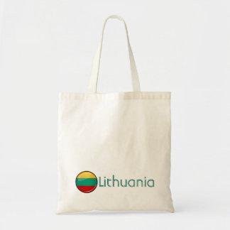 Litauisk flagga för glansig runda budget tygkasse