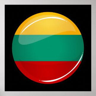 Litauisk flagga för glansig runda poster