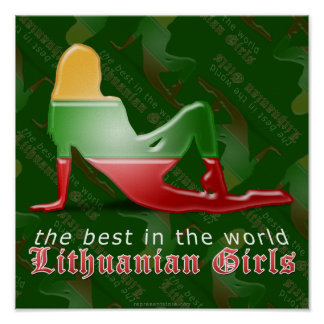 Litauisk flickaSilhouetteflagga Poster
