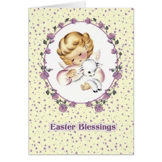 Lite ängel med Lamb.Christian-påskkort Hälsningskort