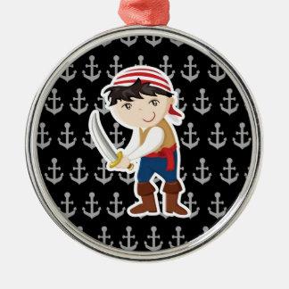Lite ankrar piraten med julgransprydnad metall