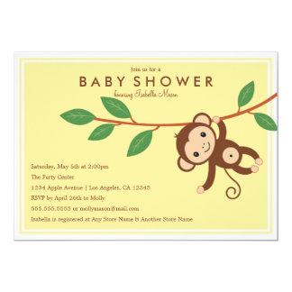 Lite apa - baby showerinbjudan för gult | 12,7 x 17,8 cm inbjudningskort