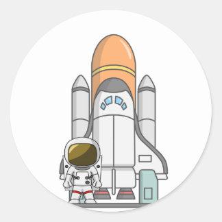 Lite astronaut & Spaceship Runt Klistermärke