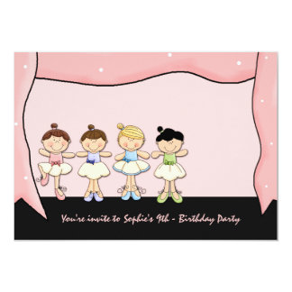 Lite ballerinass inbjudan för högläsningfödelsedag