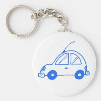 Lite blåttbil rund nyckelring