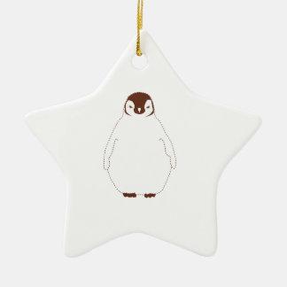 Lite brun pingvin julgransprydnad keramik