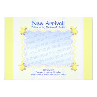 Lite chicknyfödd bebismeddelande (fotoramen) 12,7 x 17,8 cm inbjudningskort