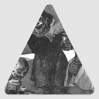 Lite elakt troll av Francisco Goya Triangelformat Klistermärke