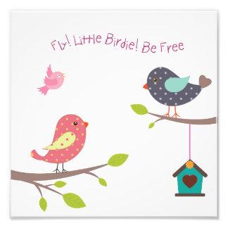Lite fågelaffisch för flickor och flickor fototryck