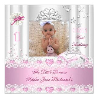 Lite födelsedagsfestfoto för Princess Första Fyrkantigt 13,3 Cm Inbjudningskort
