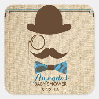 Lite för baby showerfavör för Mister Moustache Fyrkantigt Klistermärke