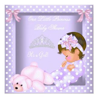 Lite för flickalavendel för Princess baby shower Fyrkantigt 13,3 Cm Inbjudningskort