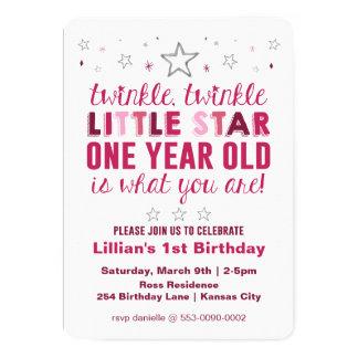 Lite första födelsedag för stjärnaflickor 12,7 x 17,8 cm inbjudningskort