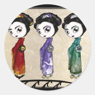 Lite Geisha Runt Klistermärke