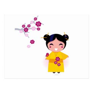 Lite gul Geisha på vit Vykort