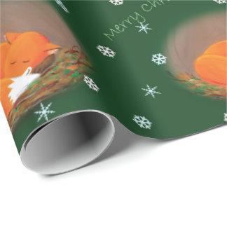 Lite gullig jul för räv presentpapper