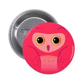 Lite gullig rosa uggla standard knapp rund 5.7 cm