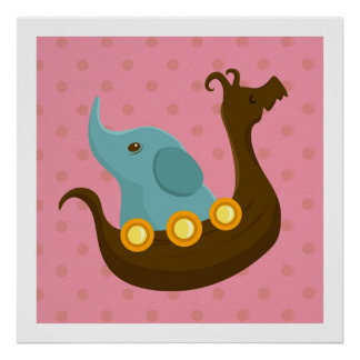 Lite handelsresandear: Viking elefantaffisch Print