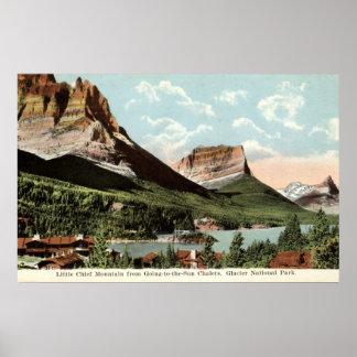 Lite högsta berg, glaciärnationalpark, MT Poster