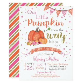 Lite inbjudan för baby shower för pumpahöstnedgång