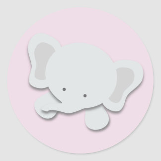 Lite klistermärkear för elefant {rosa} | runt klistermärke