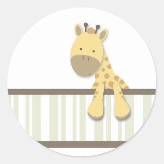 Lite klistermärkear för giraff {grönt} | runt klistermärke